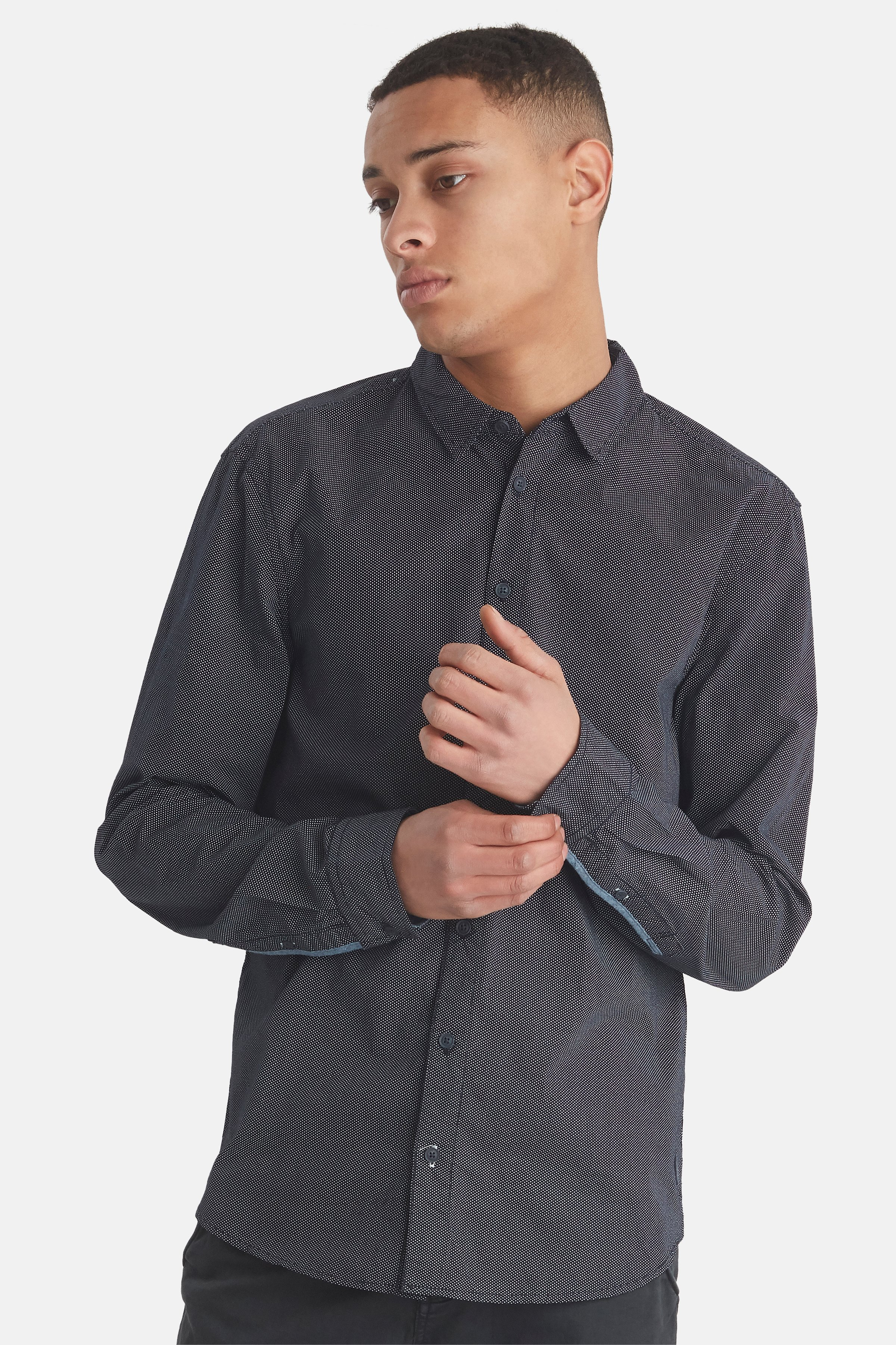 Dark Navy Blue Long sleeved shirt fra Blend He – Køb Dark Navy Blue Long sleeved shirt fra str. M-XXL her