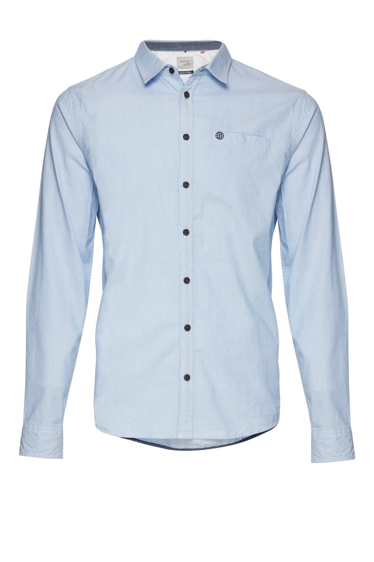 Lyseblå Langærmet skjorte – Køb Lyseblå Langærmet skjorte fra str. S-XL her