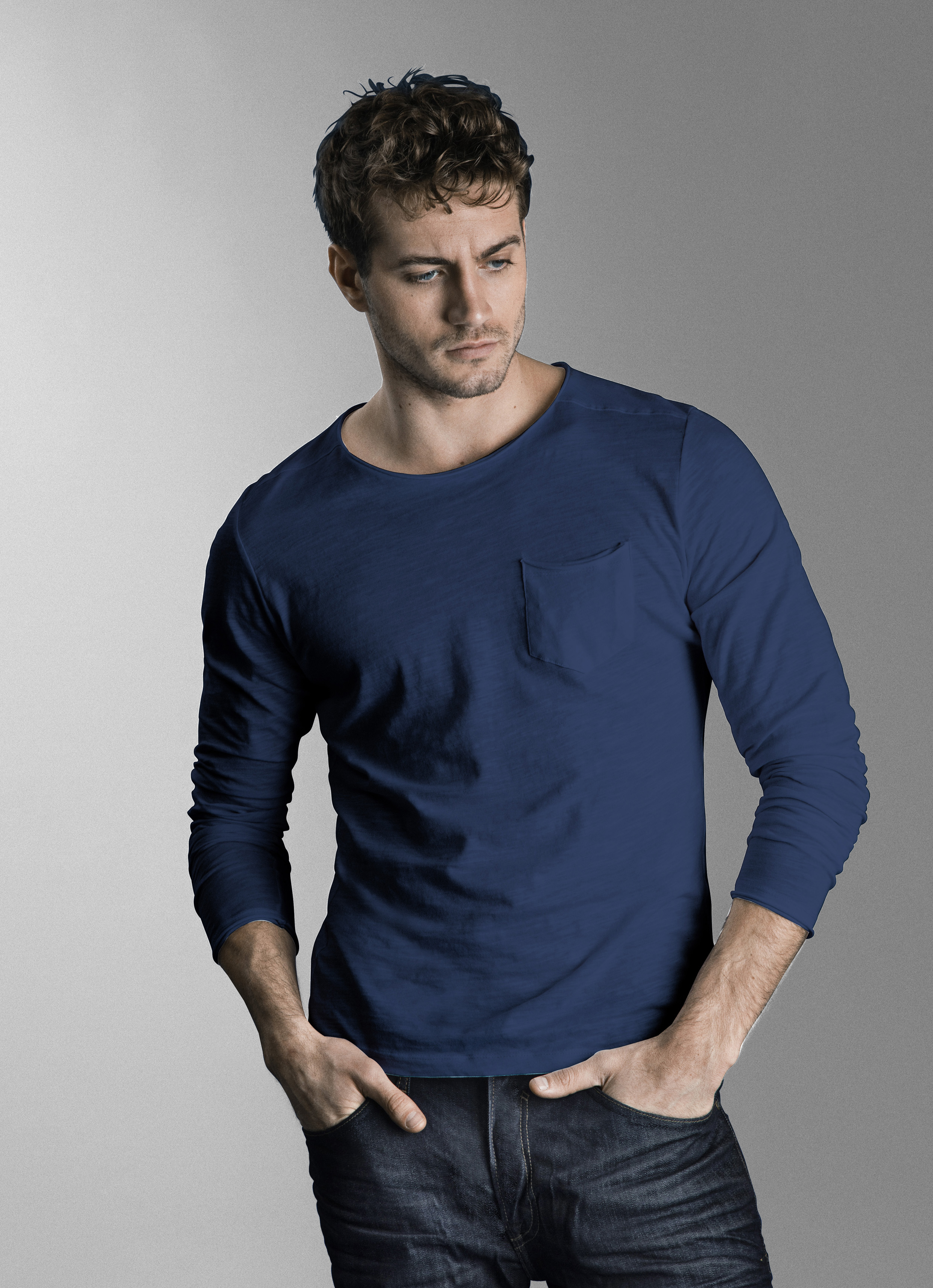 Midnight Blue BHNICOLAI Long sleeved T-shirt fra Blend He – Køb Midnight Blue BHNICOLAI Long sleeved T-shirt fra str. S-3XL her