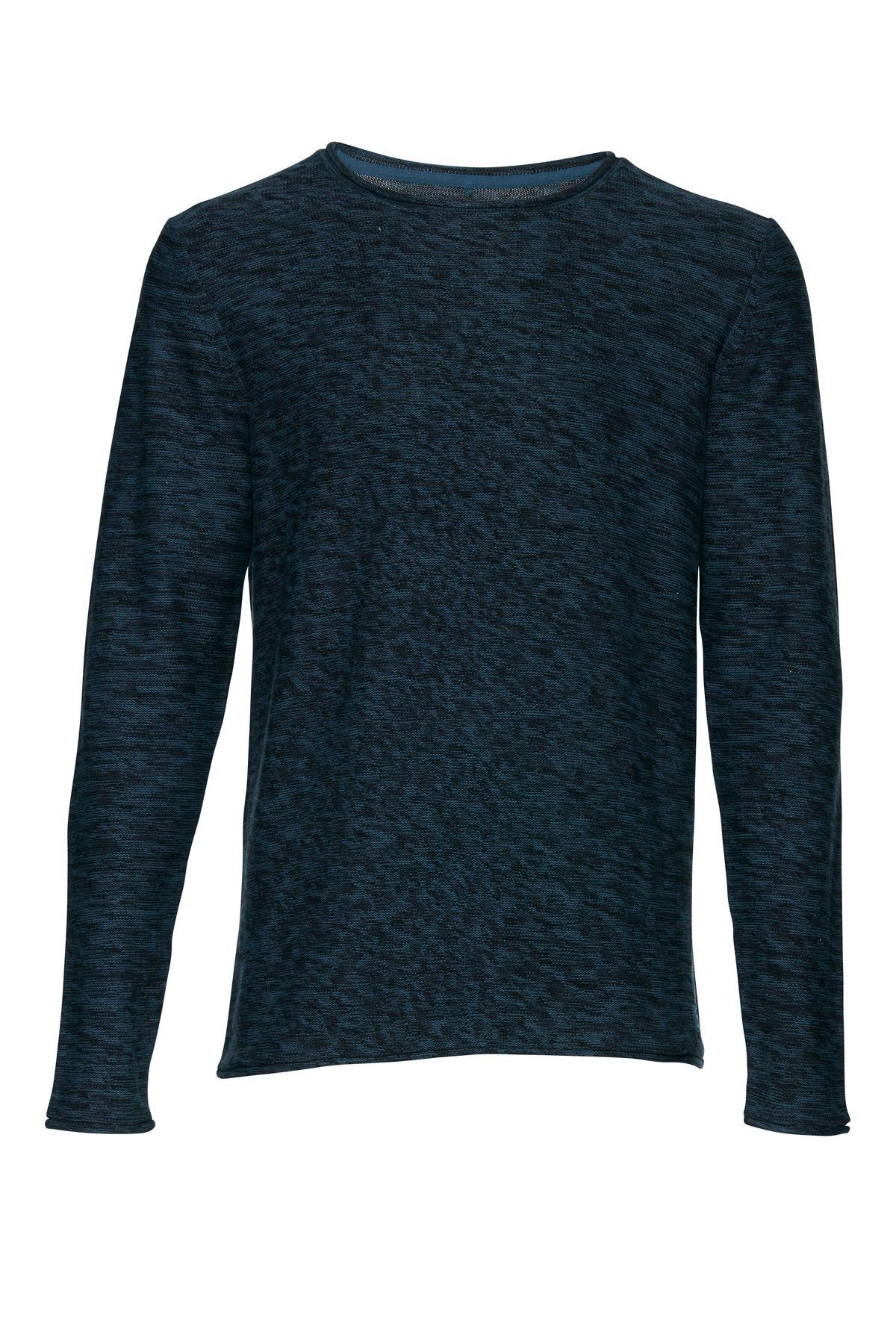 Mørkeblå meleret Strikpullover – Køb Mørkeblå meleret Strikpullover fra str. S-XL her