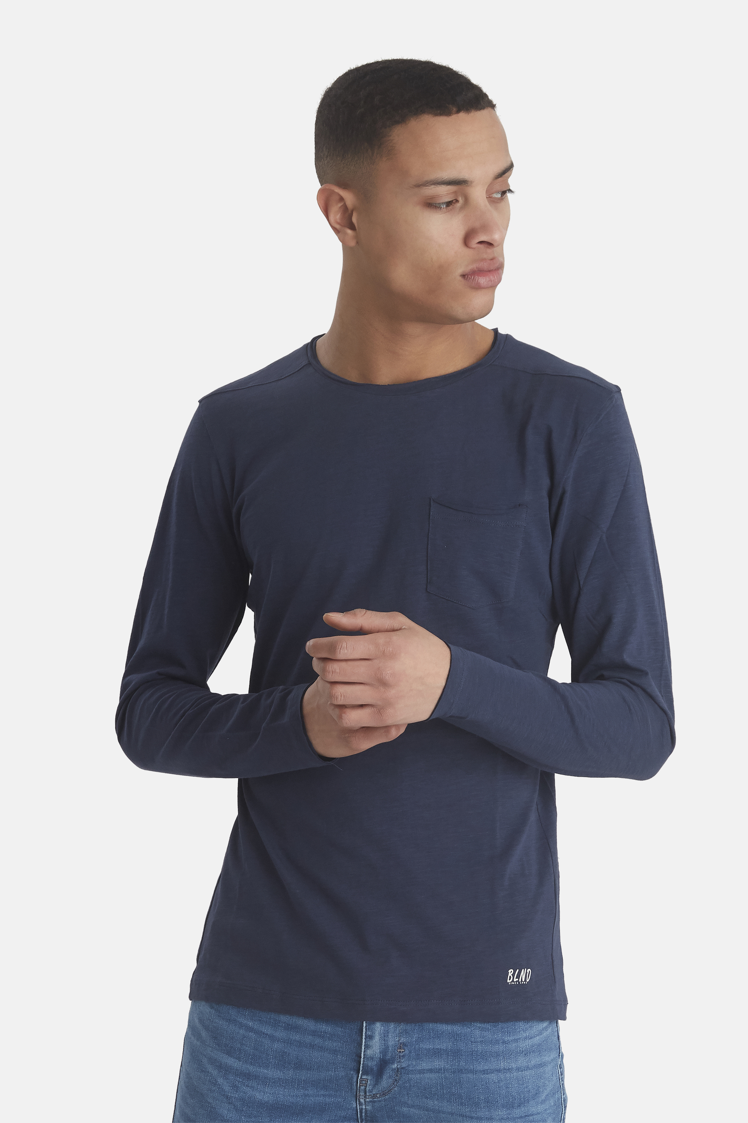 Navy BHNICOLAI Langærmet T-shirt – Køb Navy BHNICOLAI Langærmet T-shirt fra str. S-3XL her