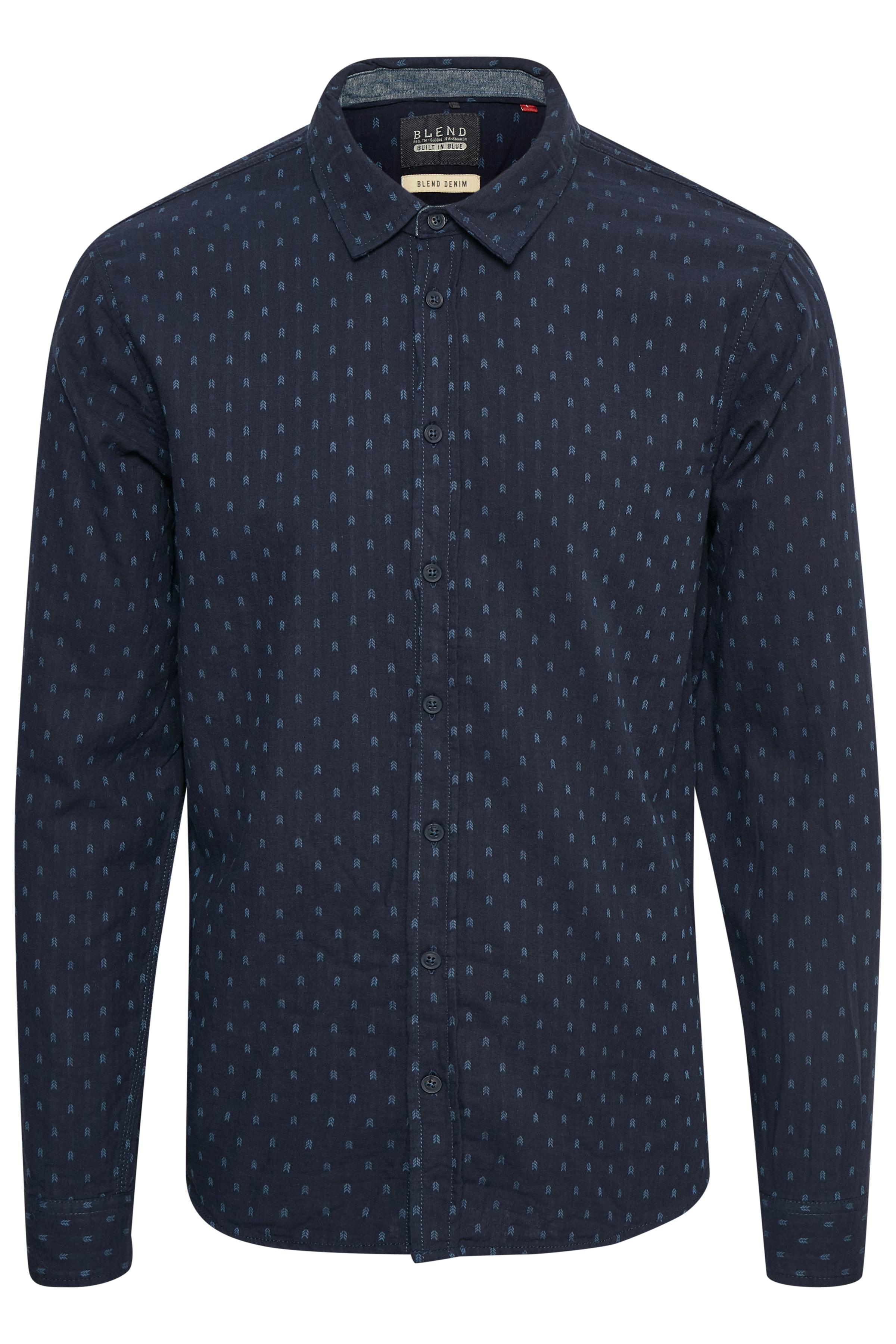 Navy Long sleeved shirt fra Blend He – Køb Navy Long sleeved shirt fra str. S-3XL her