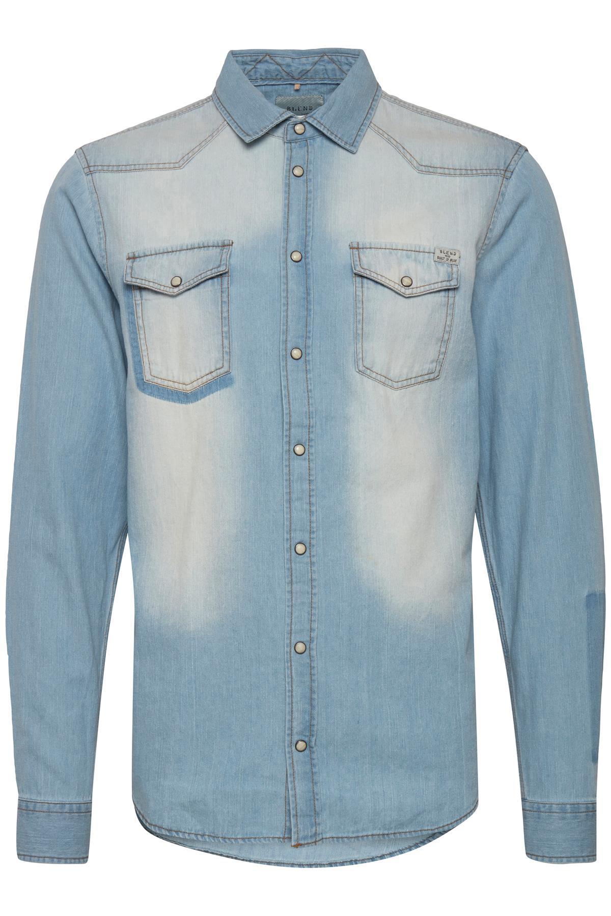 Navy Long sleeved shirt fra Blend He – Køb Navy Long sleeved shirt fra str. S-XXL her